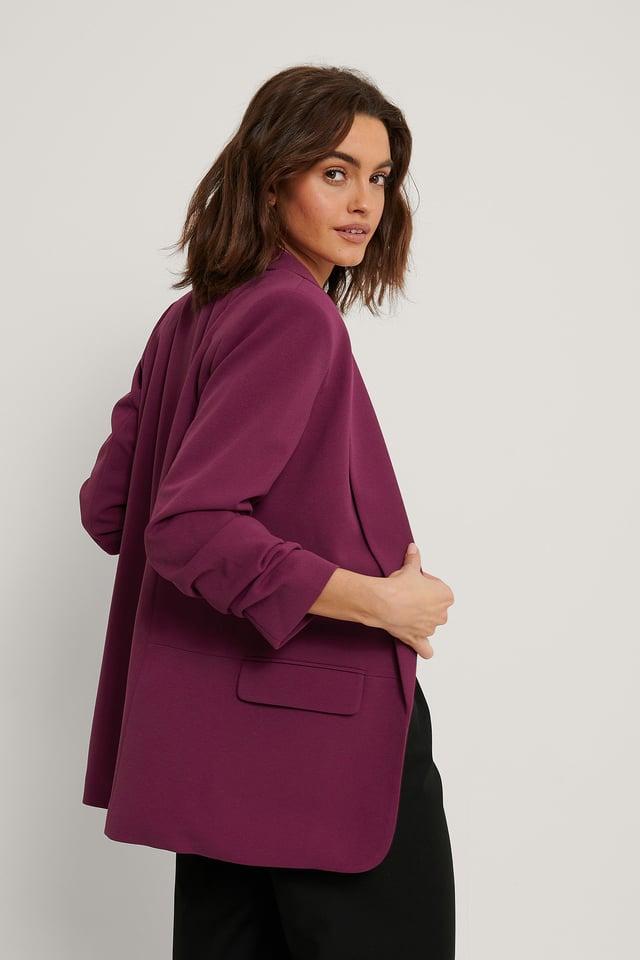 Raspberry Gathered Sleeve Blazer