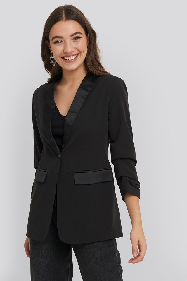 Gathered Sleeve Satin Collar Blazer Black