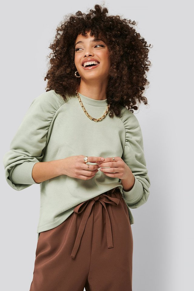 Gathered Sweatshirt Green