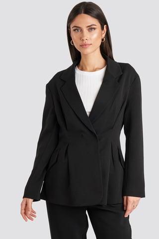 Black Gathered Waist Blazer