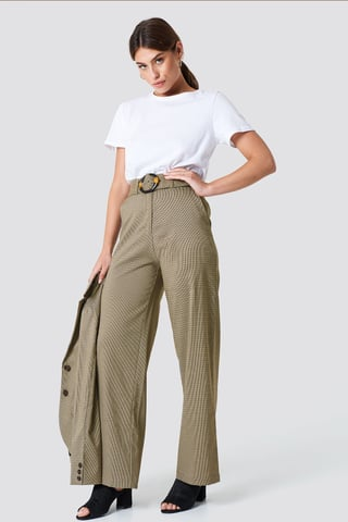 Brown Gathered Waist Dog-tooth Pants