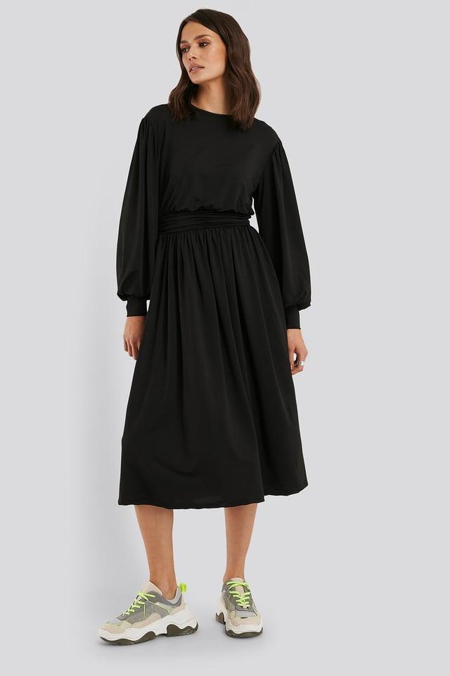 Gathered Waist Jersey Dress Black