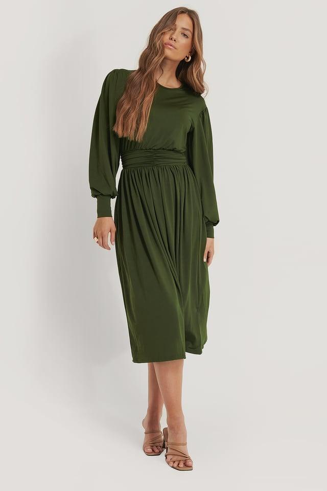 Gathered Waist Jersey Dress Dark Green