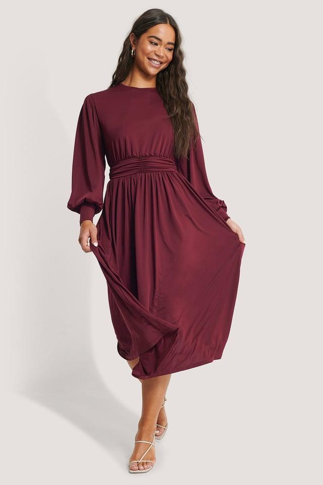 Gathered Waist Jersey Dress Burgundy