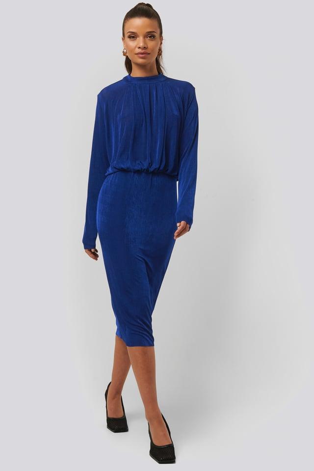 Gathered Waist Knit Dress Blue