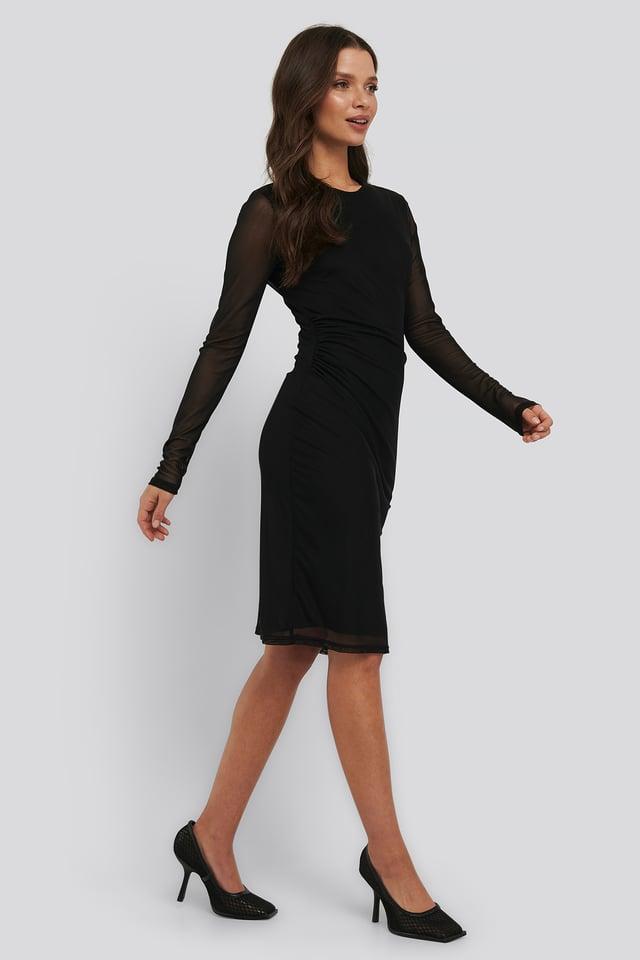 Black Gathered Waist Mesh Dress