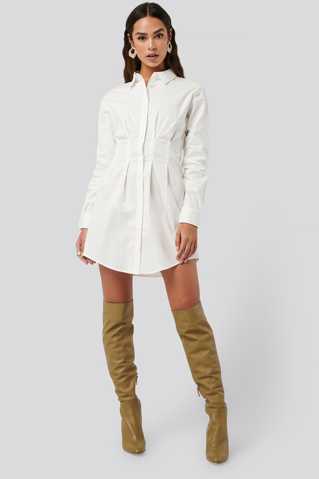 White Gathered Waist Mini Shirt Dress