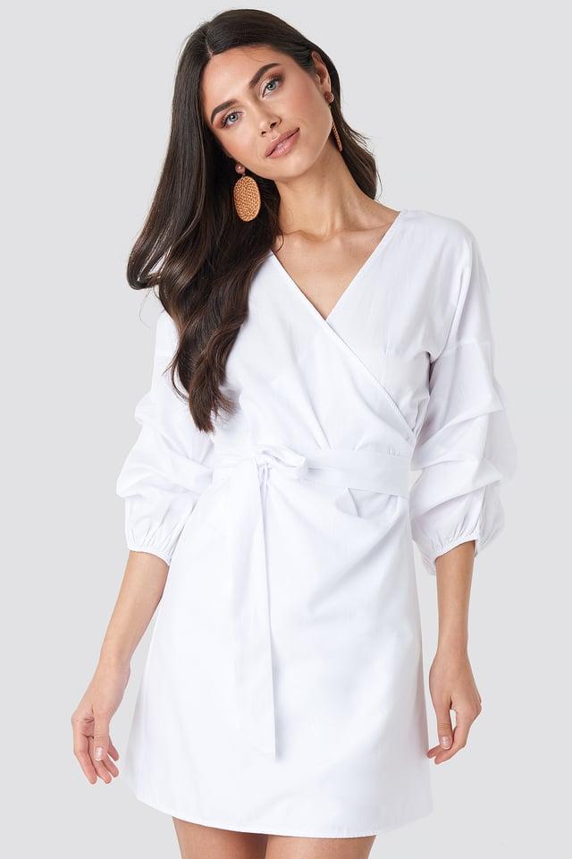 Gathered Waist Puff Sleeve Dress White