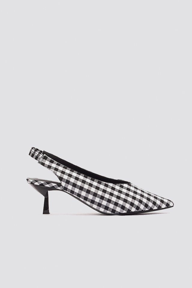 Gingham Kitten Heel Pumps Black/White