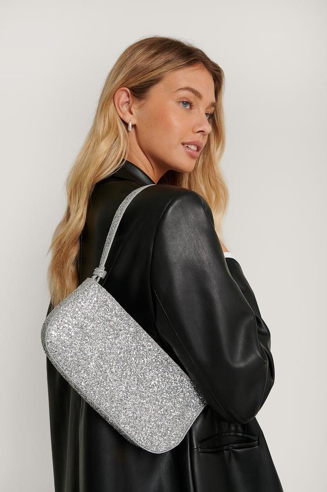 Silver Glitter Baguette Bag