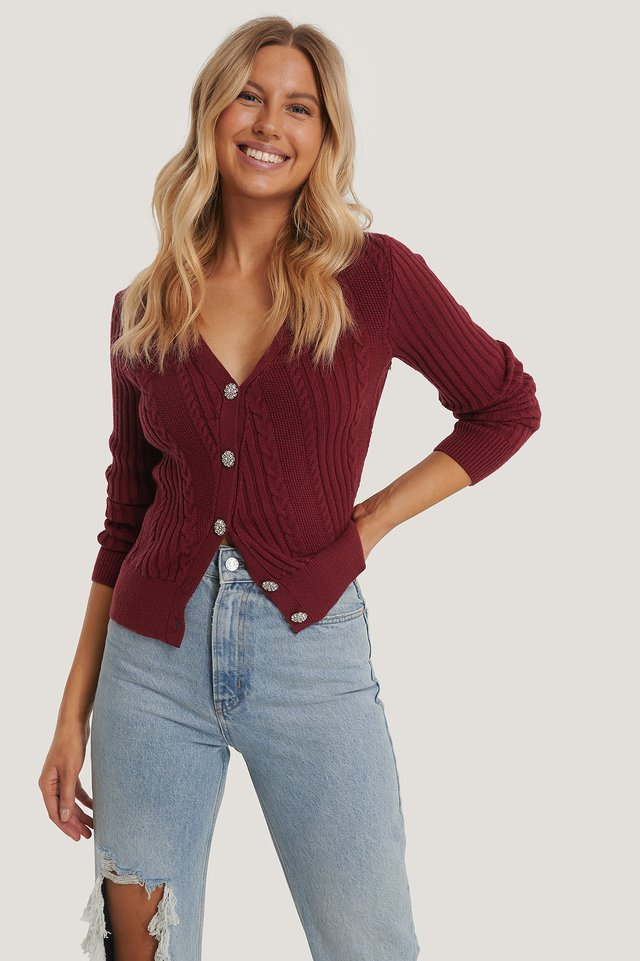 Glitter Button Cardigan Red Wine