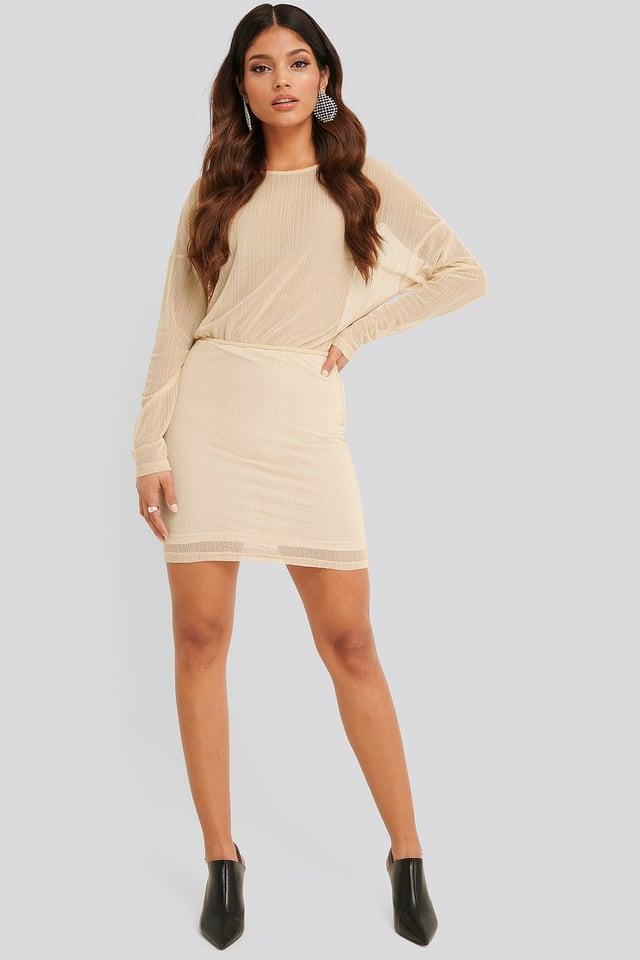 Glitter Detail Mini Dress Cream