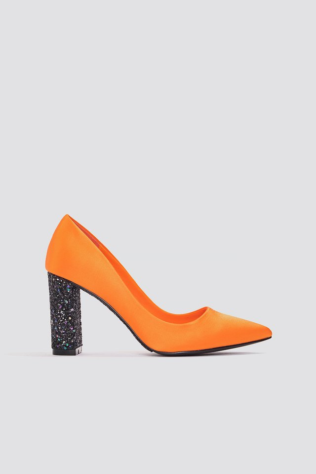 Glitter Heel Satin Pumps Orange/Black