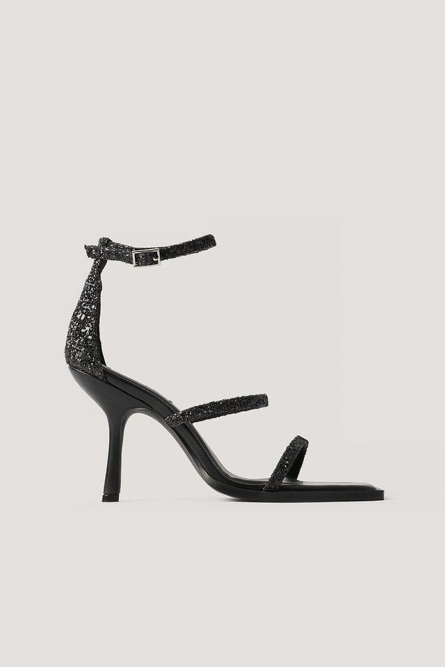 Black Glitter High Heel Sandals