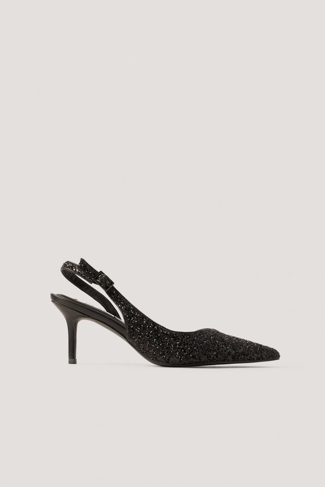 Black Glitter Slingback Pointy Pumps