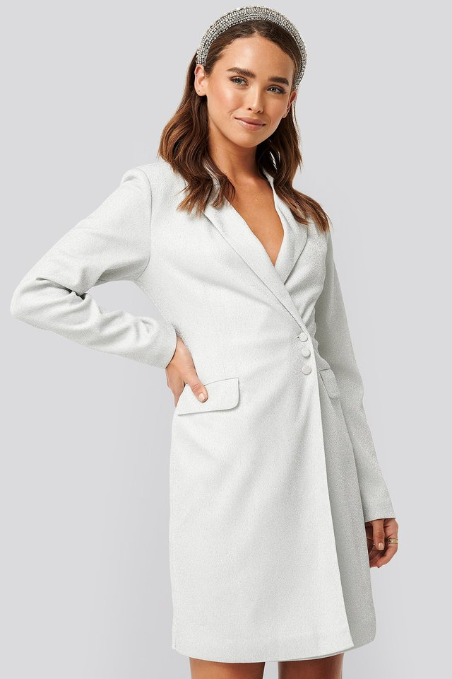 Glittery Blazer Dress Silver