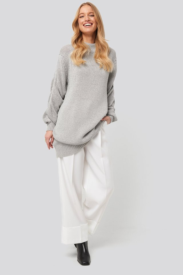 Glittery Knitted Long Sweater Silver