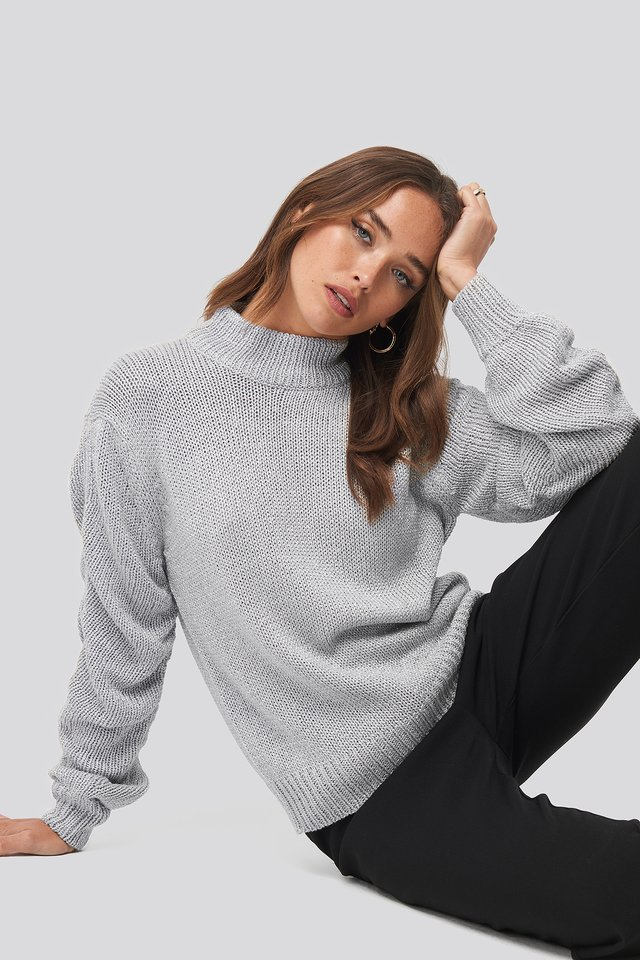 Glittery Knitted Sweater Silver