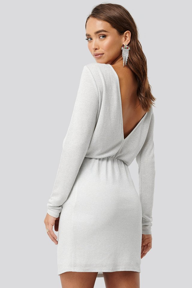 Glittery Open Back Mini Dress White