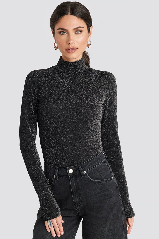 Glittery Polo Top Black