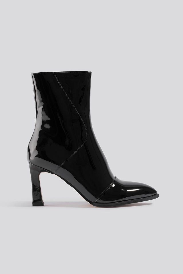 Glossy Patent Low Boots Black