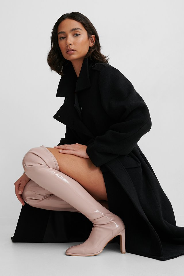 Dusty Pink Glossy Patent Overknee Boots