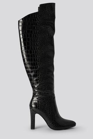 Black Glossy Reptile Overknee Boots