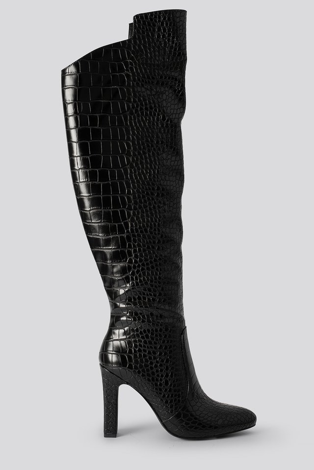 Glossy Reptile Overknee Boots Black