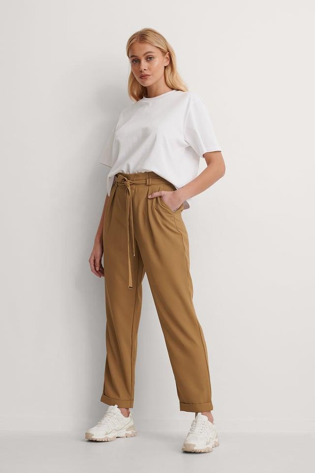 Dark Beige Gold Detail Pants