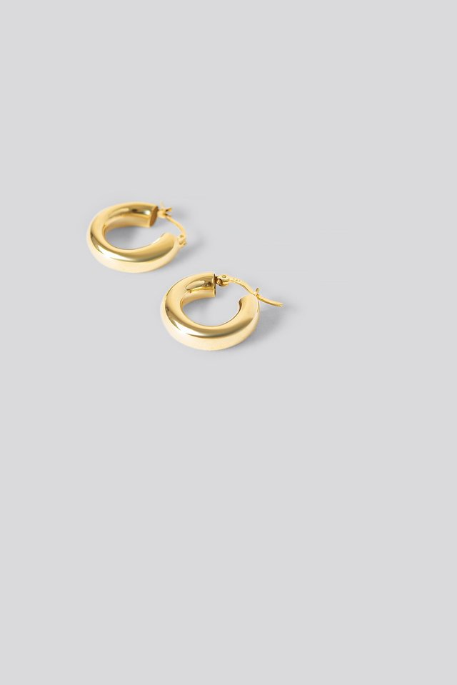 Gold Plated Chunky Earrings Gold