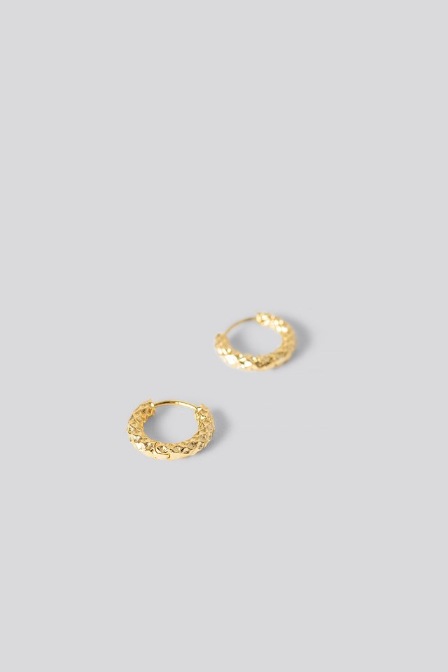 Gold Plated Structured Earring Gold