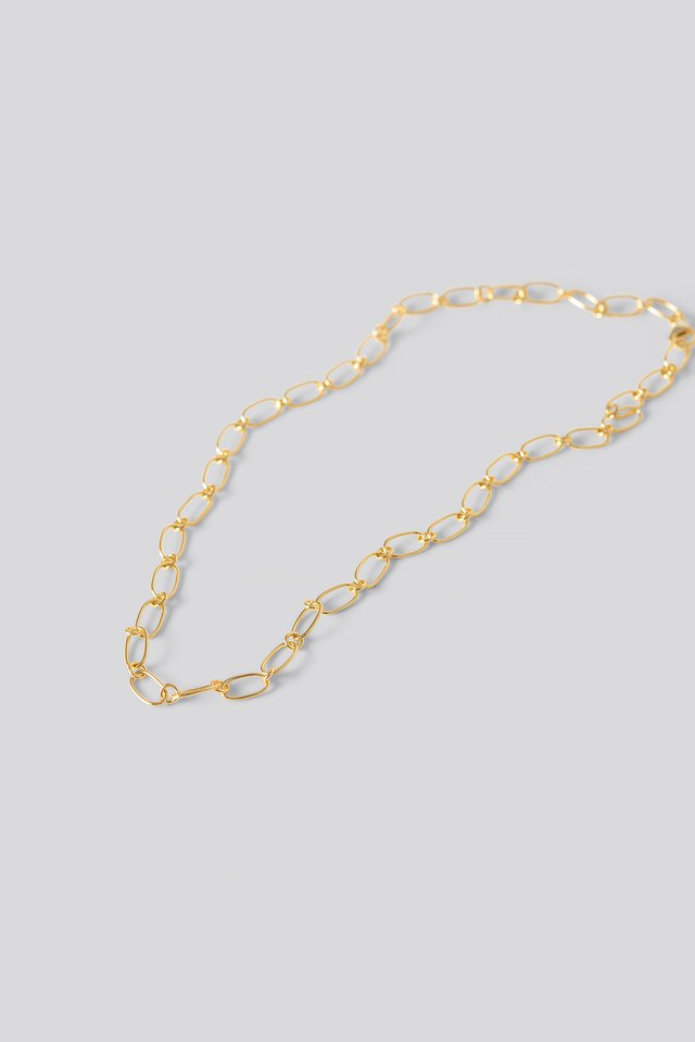 Gold Plated Thin Chain Necklace NA-KD Accessories
