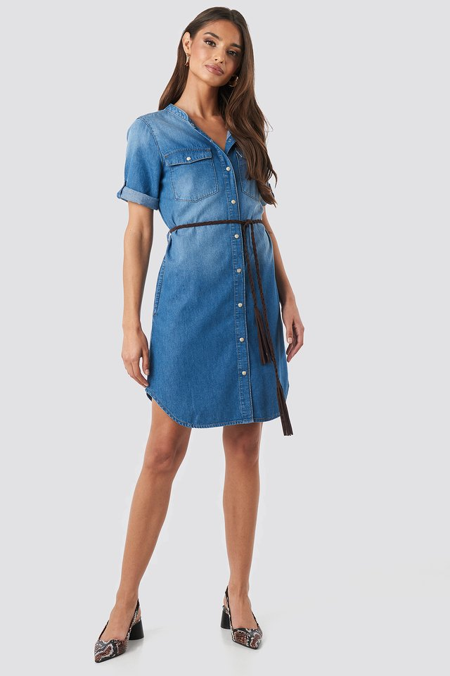 Grandad Collar Denim Mini Dress Mid Blue Wash