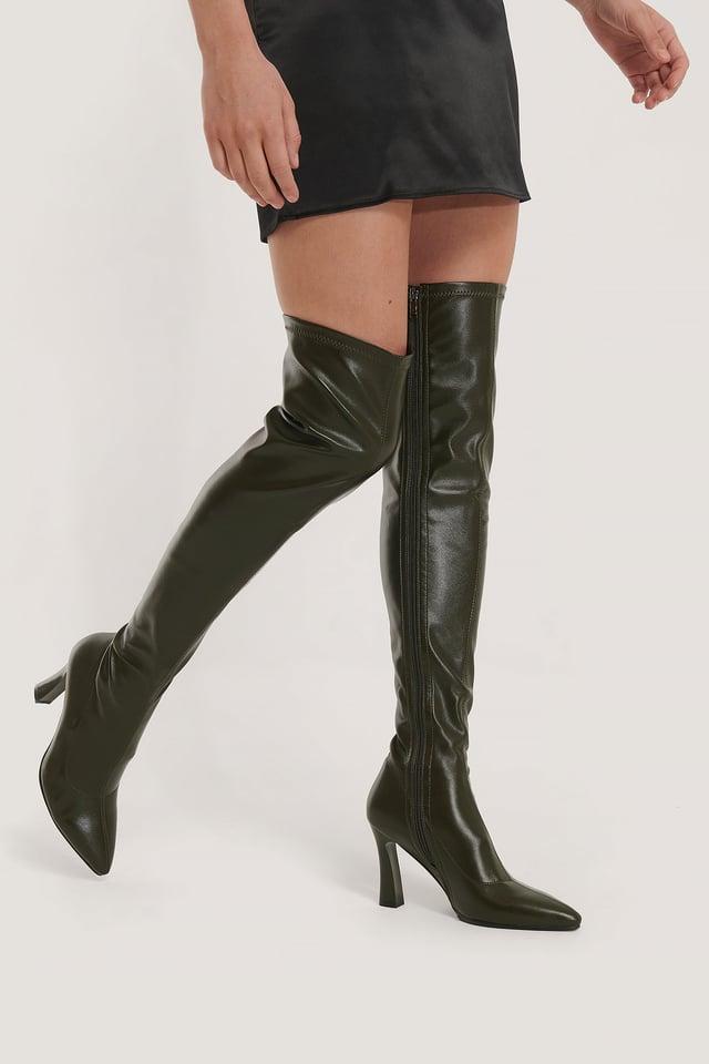 Graphic Heel Overknee Boots Dark Green