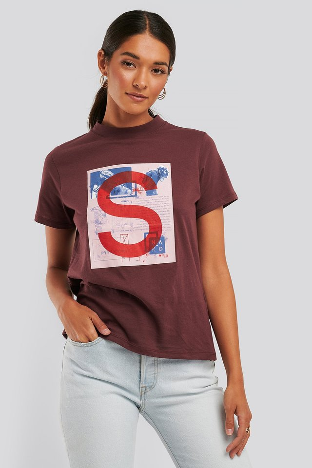 T-Shirt Z Nadrukiem Burgundy