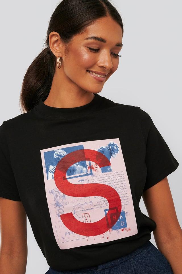 T-Shirt Z Nadrukiem Black