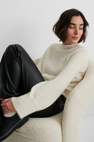 White Hairy Knit Sweater