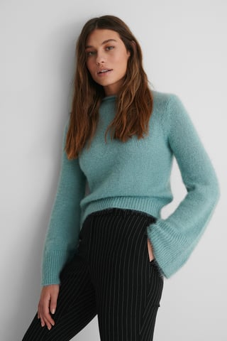 Blue Hairy Knit Sweater