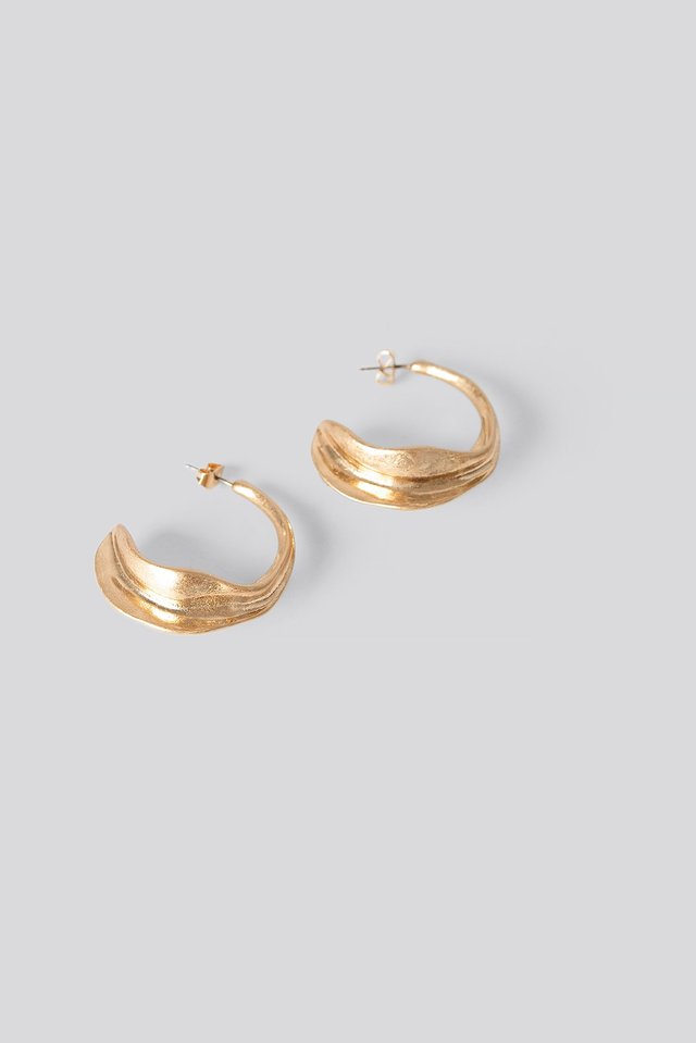 Half Hoop Structured Earrings Gold