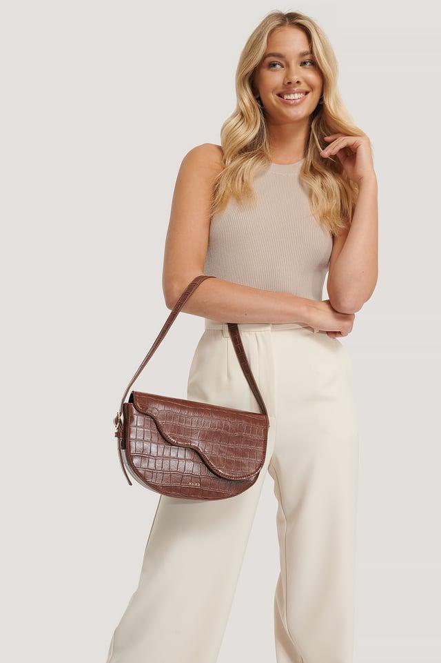 Half Moon Saddle Flap Shoulder Bag Dark Brown