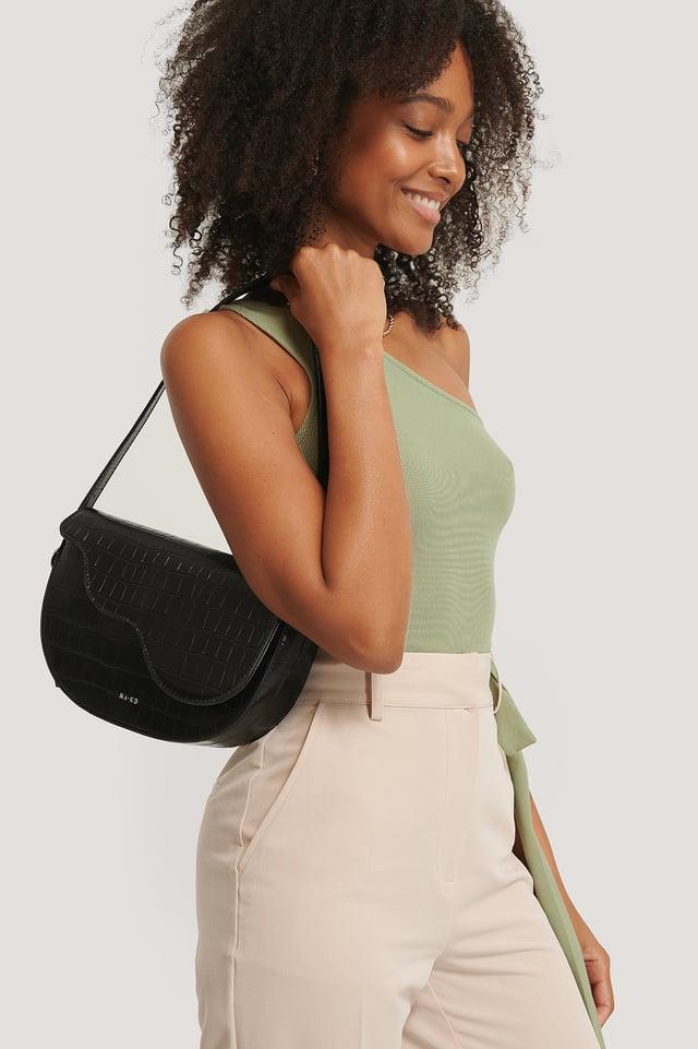 Half Moon Saddle Flap Shoulder Bag Black Croco
