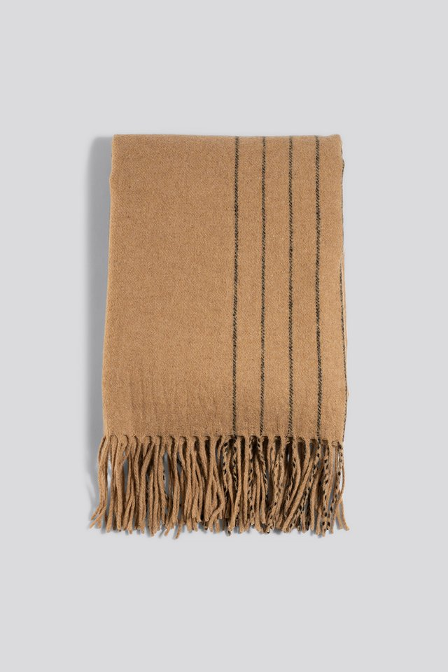 Half Striped Soft Scarf Beige