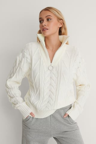 White Half Zip Cable Knit Sweater