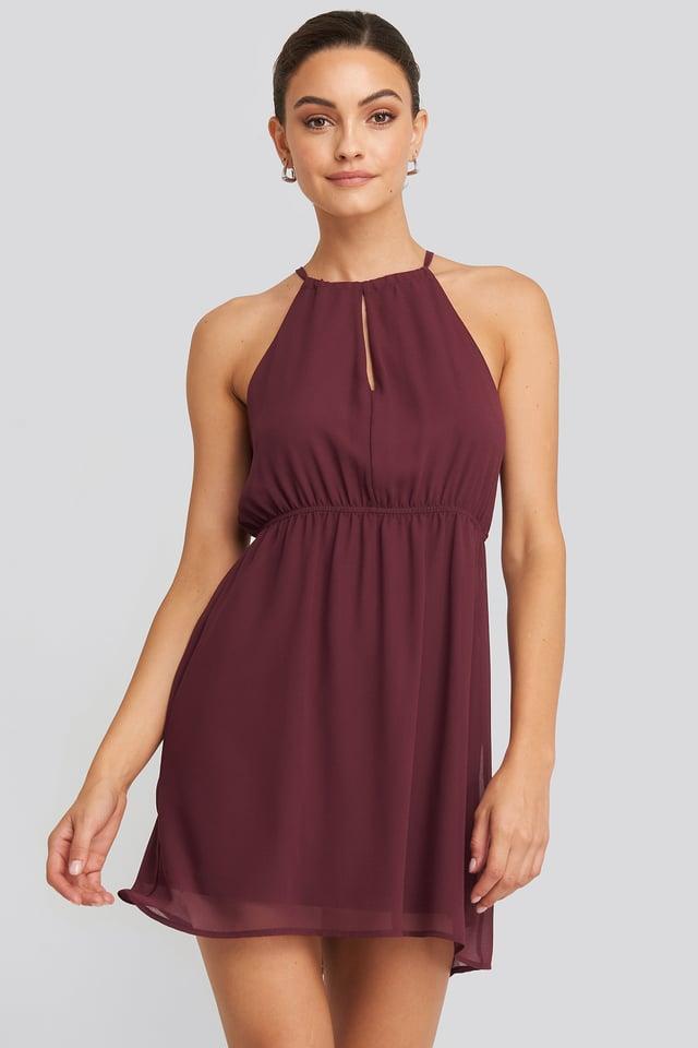 Halterneck Chiffon Mini Dress Dark Red