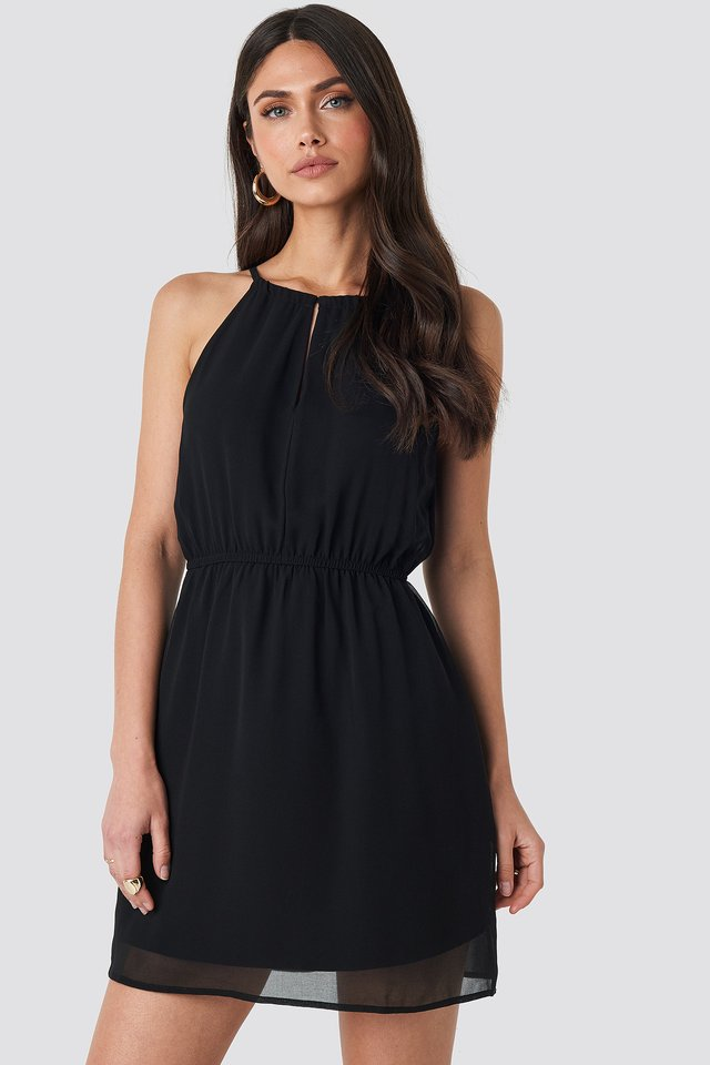 Halterneck Chiffon Mini Dress Deep Black