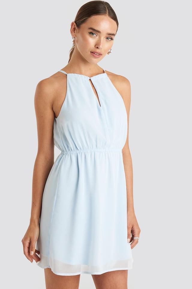 Halterneck Chiffon Mini Dress Pale Blue