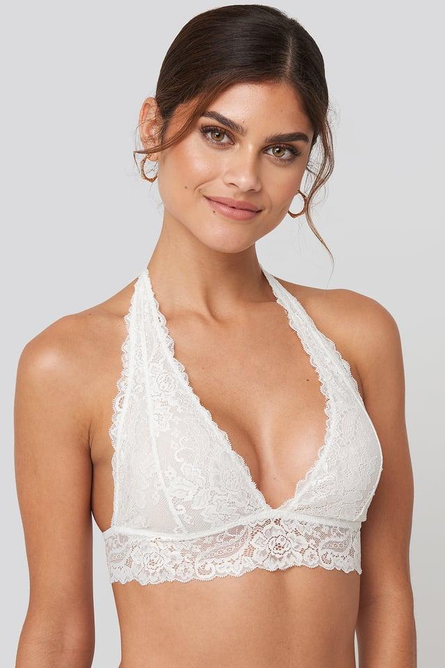 Halterneck Flirty Lace Bralette White