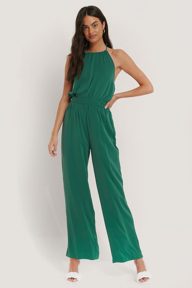 Green Halterneck Jumpsuit