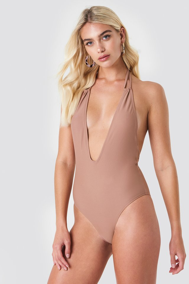 Halterneck Plunge Swimsuit Dusty Dark Pink