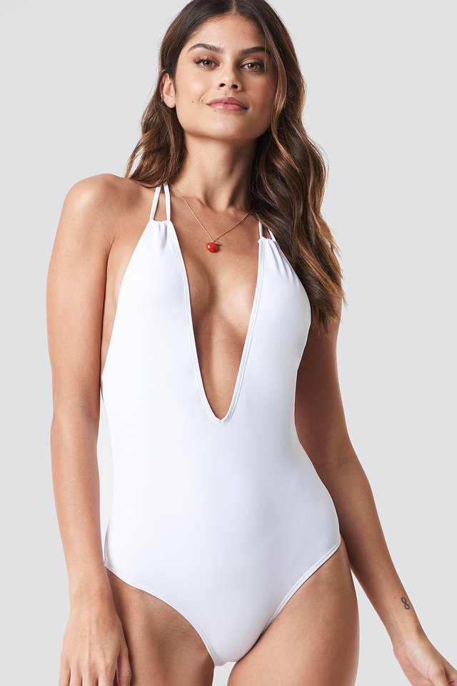 Halterneck Plunge Swimsuit White